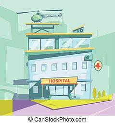 sjukhus, tecknad film, bakgrund