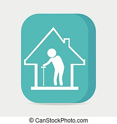 sjukvård, illustration, knapp, vektor, hem, ikon