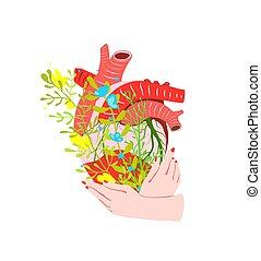 sjukvård, mänsklig, skapande, hjärta, räcker, holdingen, design., blomningen, begrepp, medicin