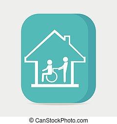sjukvård, rullstol, pressande, underteckna, handikappad, omsorg, ikon, hem, patient., man
