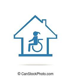 sjukvård, underteckna, handikappad, omsorg, hem, ikon