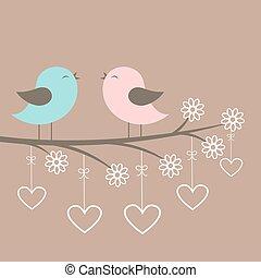 sjunga, par, fåglar, söt