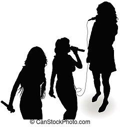 sjungande, flicka, med, a, mikrofon, svart, silhuett