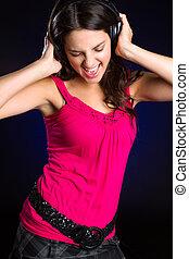 sjungande, flicka, musik