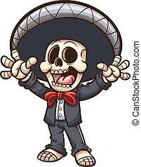 sjungande, mariachi, skelett
