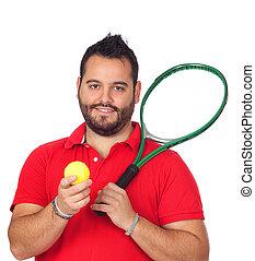 skäggig, unga manar, med, tennisracket