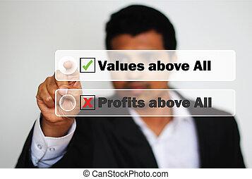 skänka, profit, mot, prioritet, värderar, välja, ...