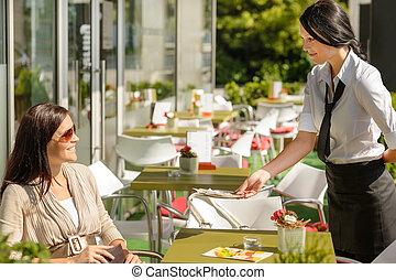 skänka, restaurang, lagförslag, baksida, servitris, ändring, terrassera