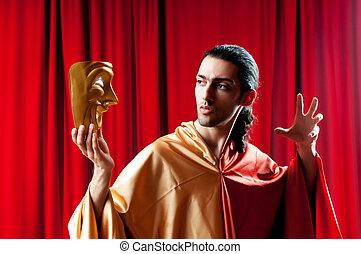skådespelare, med, maks, in, a, rolig, teater, begrepp