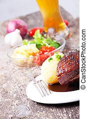 skål, fläsk, närbild, bayersk, stek