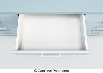 skåp, låda, öppnat