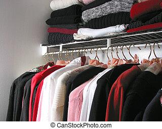 skåp, med, kläder