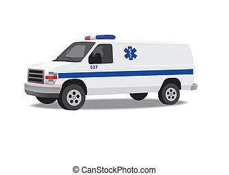 skåpbil, ambulans, isolerat, vit