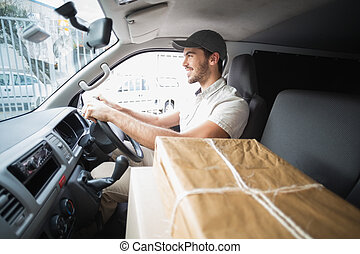 skåpbil, chaufför, leverans, drivande
