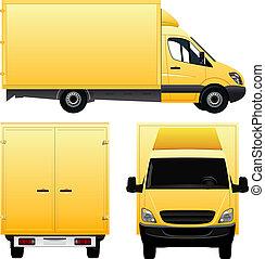 skåpbil, gul