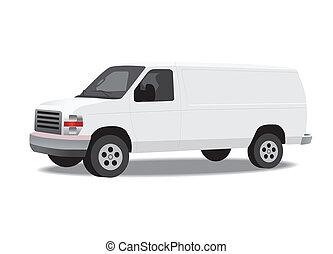 skåpbil, isolerat, vit