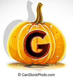 skære, g, halloween, pumpkin., font, ydre