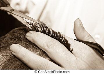 skære hår, close-up