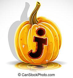 skære, j, halloween, pumpkin., font, ydre
