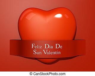 skære, sprog, valentine's, -, avis, spansk, ydre