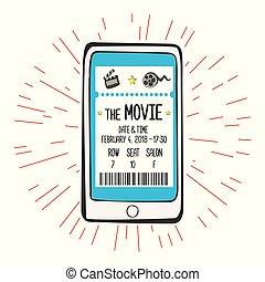 skærm, movie billet, smartphone