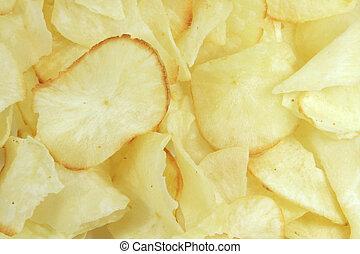 skærve, crisps, kartoffel