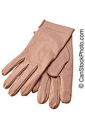 skóra, białe rękawiczki, samica, tło