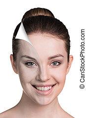 skóra, concept., kobieta, młody, troska