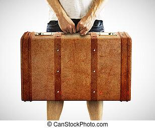 skóra, człowiek, dzierżawa, walizka