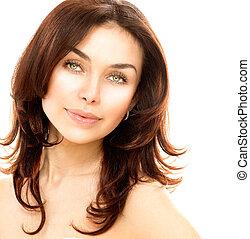 skóra, doskonały, młody, odizolowany, samica, portret, white., piękny