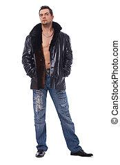 skóra, jacket., pełna długość, człowiek