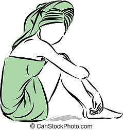 skóra, kobieta, wektor, ilustracja, troska