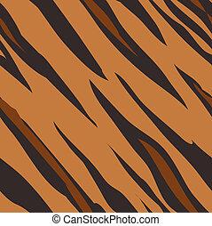 skóra, próbka, druk, seamless, tiger, dekarstwo, zwierzę