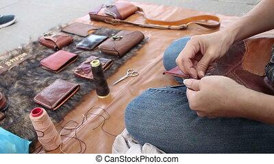 skóra, stitching, portfel