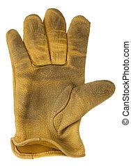 skóra, używany, żółty, rękawiczka, poza