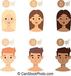 skóra, wektor, atmosfera, spf., twarze