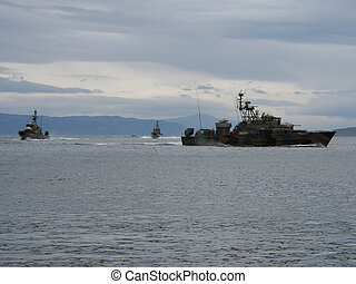 skót, hadihajó, el, lesiklik
