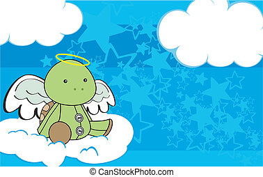 sköldpadda, ängel, 3, tecknad film, copyspace