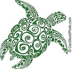 sköldpadda, grön, hav