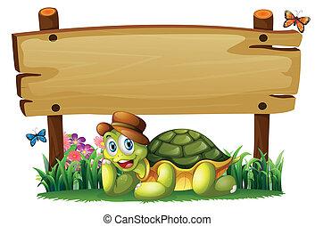 sköldpadda, trä, nedanför, bord, le, tom