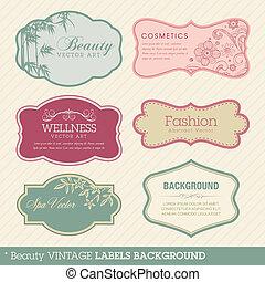 skönhet, årgång, etiketter, bakgrund