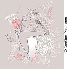 skönhet, blommig, kvinna