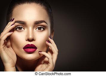 skönhet, brunett, kvinna, med, perfekt, helgdag, smink
