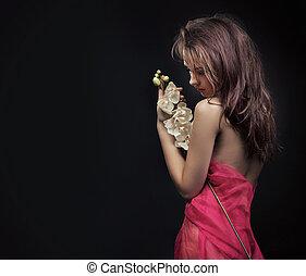 skönhet, brunett, med, blomma