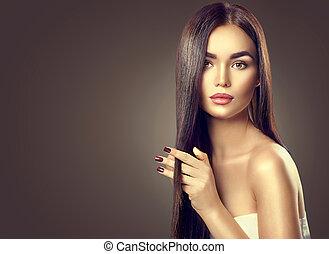 skönhet, brunett, modell, flicka, rörande, länge, hälsosam, hår