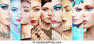 skönhet, collage., vettar, av, kvinnor