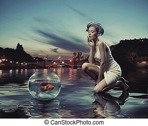 skönhet, dam, med, guld fiska