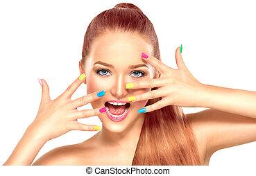 skönhet, flicka, med, färgrik, manikyr, och sätt, smink