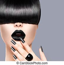 skönhet, flicka, stående, med, toppmodern, frisyr, svart,...