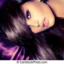 skönhet, girl., glamour, mode, womanstående